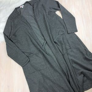 Lularoe Stripe Black & White Sarah Duster Cardigan